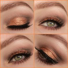 This neutral, copper toned eye makeup is perfect not only for a day look but can take you into the night. See the makeup products used and DIY this glam look here.