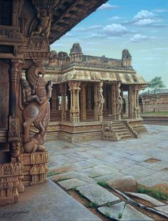 Discover recipes, home ideas, style inspiration and other ideas to try. Indian Temple Architecture, Cultural Architecture, Ancient Architecture, Art And Architecture, Indian Illustration, Temple India, Indian Art Paintings, Krishna Art, Shiva Hindu