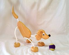 Golden Retriever / Black Lab Puppy Dog Marionette - Wooden Puppet Pet