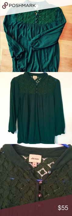 Ella moss Top in Forest Green This top is in excellent used condition with no flaws! The material is 45% supina cotton, 45% modal and 10% spandex, and it is sooo soft and comfortable!! The 3rd photo does not reflect the actual color of the top - only posted to show lace detail. It is a true rich forest green color. This long sleeve high quality blouse is a perfect addition to your fall/winter wardrobe! Please feel free to ask any questions and/or make me an offer 😊 bundle & save…