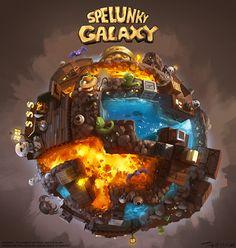 Spelunky Galaxy! (fan art)  by Tony Holmsten, via Behance