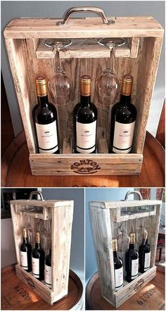 50 cool ideas for upcycling wooden pallets - UPCYCLIN .- 50 cool ideas for upcycling wooden pallets, pallets - Pallet Crafts, Diy Pallet Projects, Cool Wood Projects, Rustic Crafts, Pallet Ideas, Palette Diy, Bois Diy, Wood Wine Racks, Pallet Wine Racks