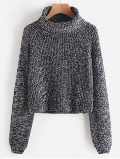 Turtleneck Heathered Pullover Sweater - GRAY ONE SIZE