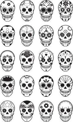 I would love a dia de los muertos tattoo, these are excellent ideas Caveira Mexicana Tattoo, Tattoo Caveira, Candy Skulls, Sugar Skulls, Skull Candy Tattoo, Candy Skull Face Paint, Sugar Skull Drawings, Sugar Skull Painting, Sugar Skull Stencil