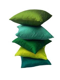 """""""GO GREEN"""" EXOTIC OFFER!! 5 SHADES OF GREEN COMBO in Set of 5 Premium Quality Art Silk Solid Cushion Covers/ Throw pillow covers 12""""x12"""" inches (30x30Cms)- By Royal DecoFurnishing: Amazon.in: Home & Kitchen"""