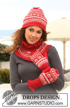 """Set comprises: Knitted DROPS hat, neck warmer and mittens in """"Karisma"""" with Norwegian pattern. ~ DROPS Design"""