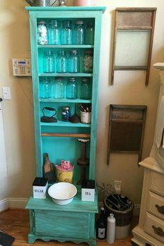 Vintage jelly cabinet, old wash boards, mason jars, vintage things displayed