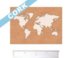 cork board and paint world map
