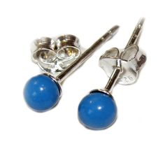 4mm TURQUOISE BEAD STUD EARRINGS SET IN NICKEL & LEAD FREE .925 STERLING SILVER,  $12.59 FREE SHIPPING