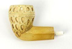 Vintage Estate Meerschaum Carved Peacock Tail Pipe Bowl #weboys10