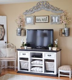 "1,410 Likes, 20 Comments - Sarah • Little Vintage Nest (@littlevintagenest) on Instagram: ""In today's blog post I shared the easy makeover I recently did on our TV stand. This whole area has…"""