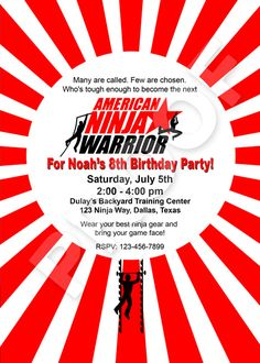 Paper Perfection: American Ninja Warrior Invitation