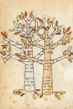 novel autumn trees collage cut paper collage x vintage papers Tree Collage, Tree Art, Collage Art, Mix Media, Nature Artists, Nature Artwork, Paper Art, Cut Paper, Autumn Trees