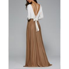 Fashionable Long Sleeve Lace-Up Backless Maxi Dress | TwinkleDeals.com