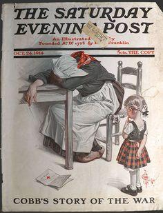 "October 24, 1914 ~ ""WWI Letter To Mother"" by J.C. Leyendecker..... Vintage Children's Books, Vintage Comics, Vintage Ads, Old Magazines, Vintage Magazines, Jc Leyendecker, Norman Rockwell Art, Saturday Evening Post, Magazine Art"
