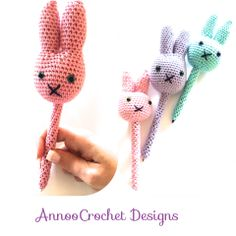 Spring Bunny Pen Buddy Free tutorial By AnnooCrochet Designs