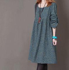 Dark green Floral Print cotton dress long by originalstyleshop