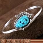 Zuni Indian Sterling Silver Turquoise Multicolor Corn Bracelet