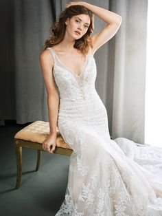Kenneth Winston Style 1716 | stunning lace gown with beaded mesh plunging neckline and illusion back | luxurious bridal gown