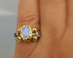 14K Solid Gold Ring Moonstone Ring Alternative by yifatbareket