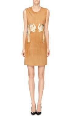 M'O Exclusive Suede Jeweled Elephants Dress by Holly Fowler for Preorder on Moda Operandi