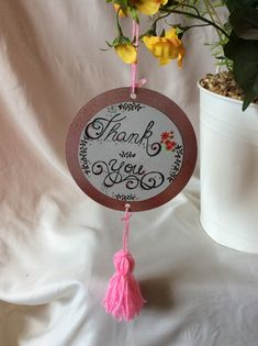 The thank you sign has been made from an old CD. It has been spray painted then a hand drawn design has been stuck on. The tassel at the bottom has been handmade. Original drawn design not a copy or print. Thank You Sign, Tank You, Bank Holiday, Hanging Signs, Spray Painting, Tassels, How To Draw Hands, The Originals, Handmade