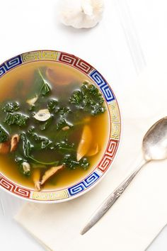 Garlic and kale soup.. this looks completely delicious. There are 20 cloves of garlic in this! awwww yeah.