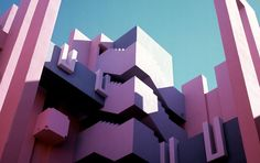 """diamonds-wood:  la Muralla Roja/ Ricardo Bofill  """"La Muralla Roja, Spanish for 'The Red Wall,' is a housing project located within the La Manzanera development in Spain's Calpe. The building makes clear references to the popular architecture of the Arab Mediterranean Area, a result of the architects' inspiration by the Mediterranean tradition of the casbah. The striking colors that cover the outer and inner facades are selected to either contrast with nature or complement its purity.""""…"""