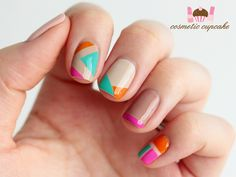 Limited Edition Screen Siren Nail Enamel   How To Nail Art with Cosmetic Cupcake - Neon + Nudes tape mani