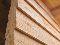 Douglas Zweeds rabat | Douglashout.nl Cladding Design, House Cladding, Backyard Buildings, Backyard Sheds, Wooden Wall Cladding, Exterior Siding Options, Timber Garage, Privacy Fence Designs, Casas Containers