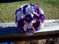 Gorgeous eggplant purple and light gray Sola flower bridal bouquet. The one pictured is size large. Made with dyed sola flowers, preserved Rustic Bridal Bouquets, Silk Wedding Bouquets, Flower Bouquet Wedding, Bridesmaid Bouquet, Flower Bouquets, Wedding Rustic, Fall Wedding, Wedding Decor, Burgundy Bouquet