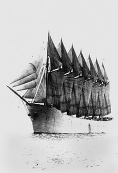 """""""The Thomas W. Lawson (1902) was a seven-masted schooner originally planned for the Pacific trade but used primarily to haul coal and oil along the East Coast of the United States. The ship was the largest pure sailing vessel ever built."""""""