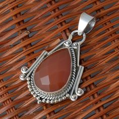 RED ONYX 925 SOLID STERLING SILVER EXCLUIVE PENDANT 6.34g DJP6317 #Handmade #Pendant