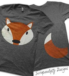 Iron on Fox Shirt PDF - Fox Tail Iron on Transfer / Red Fox Kids Shirt / Fox and Tail Adult Tshirt / Funny Baby Clothes / Halloween Costume by ScrapendipityDesigns, $4.50