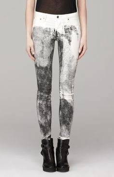 Monochrome painterly print jeans; abstract black & white pattern fashion // Helmut Lang