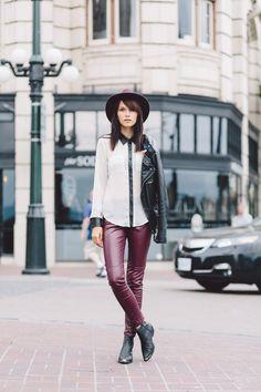 :: burgundy leather pants ::
