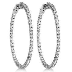 Prong-Set Diamond Hoop Earrings in White, Yellow or Rose Gold 14k White Gold Earrings, Yellow Earrings, Diamond Hoop Earrings, Stud Earrings, Diamond Stone, Or Rose, Rose Gold, Prong Set, Stone Weight