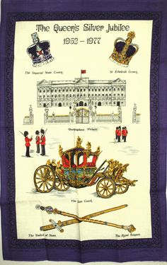 Lamont The Queen's Silver Jubilee Tea Towel - Vintage 1952 - 1977 Royal Family Majesty Crown Sword - Made in Ireland - New Old Stock by FunkyKoala on Etsy