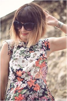 Ombre Short Bob Hairstyles with Blunt Bangs