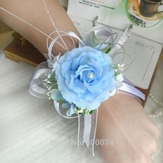 light blue wrist corsage - Google Search Prom Flowers, Bridal Flowers, Pretty Flowers, Rose Corsage, Corsages, Prom Dresses, Formal Dresses, Prom Hair, White Roses