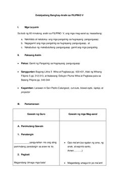 Detalyadong Banghay-Aralin sa Filipino V Grade 1 Lesson Plan, Daily Lesson Plan, Teacher Lesson Plans, Lesson Plan Examples, Lesson Plan Format, Lesson Plan Templates, Reading Worksheets, Worksheets For Kids, Lesson Plan In Filipino
