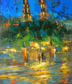 Night Merida - Abstract Contemporary art Oil painting on Canvas  by Dmitry Spiros.