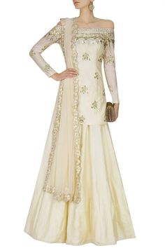Astha Narang presents Off white off shoulder gold gota and sequin embroidered lehenga set available only at Pernia's Pop Up Shop. Indian Bridal Wear, Indian Wedding Outfits, Pakistani Outfits, Indian Outfits, Indian Wear, Pakistani Clothing, Bridal Lehenga Online, Lehenga Choli Online, Salwar Kameez