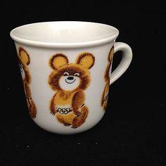 Olympic Games 1980 Moscow Childs Cup Mug Bear Misha Russian Mascot Rare Summer