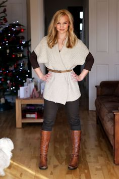 Tunic sweater w skinny belt - I like this, but I also think its more @Jess Liu Steele