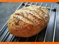 Hrnčekový chlieb Kupovali by ste chleba, keby ste si vedeli upiecť doma takýto ? Tento je skutočne pečený doma. Ingrediencie 1 šálka hladká múka t650 2 šálky ražná múka 1 šálka vody 1 bal sušené droždie 1.5 kl soľ 1.5 kl rasca drvená kmín Za hrsť ľanové semiačka Inštrukcie Zamiesiť,hodinu kysne. Po hodine premiesiť,dat kysnúť …