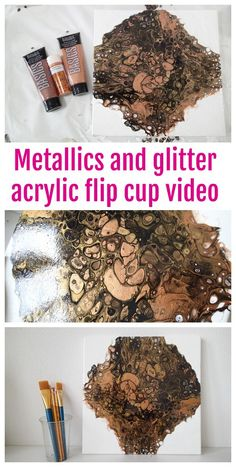 Metallic and glitter paint acrylic pouring demonstration tutorial video. Create cells with acrylic paints. Learn how with this video using metallic paints on a negative space background