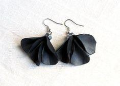 INNER TUBE EARRINGS. Black earrings made recycled inner tube and bolts - by Nokike
