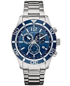 Nautica Men's Chronograph Stainless Steel Bracelet Watch 43mm N16665G