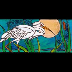 Heron design stained glass panel by Jude Alderman http://www.stainedglassdorset.co.uk/gallery/heron.html